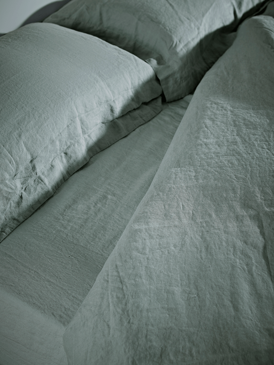 Washed Linen Bedding - Dusky Sage