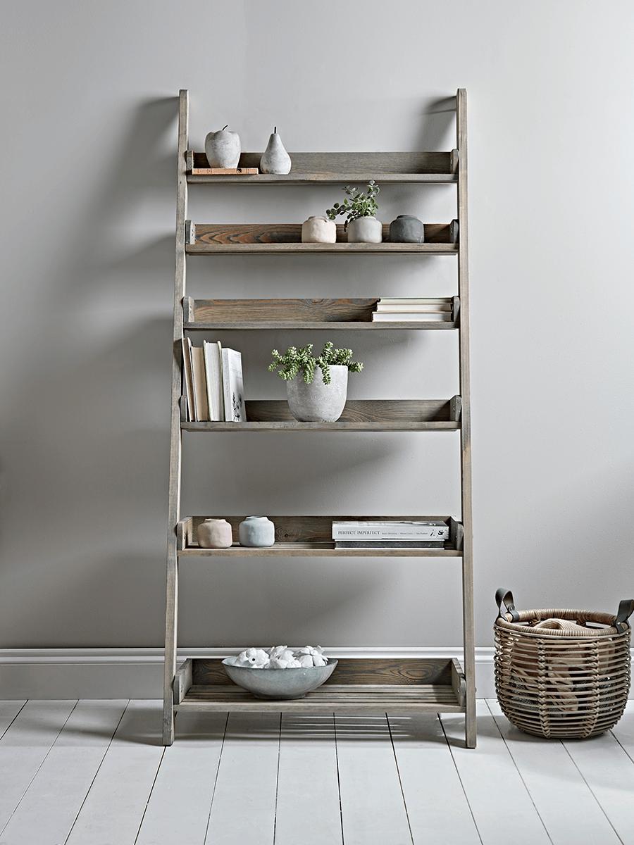 Rustic Wooden Ladder Shelf Wide