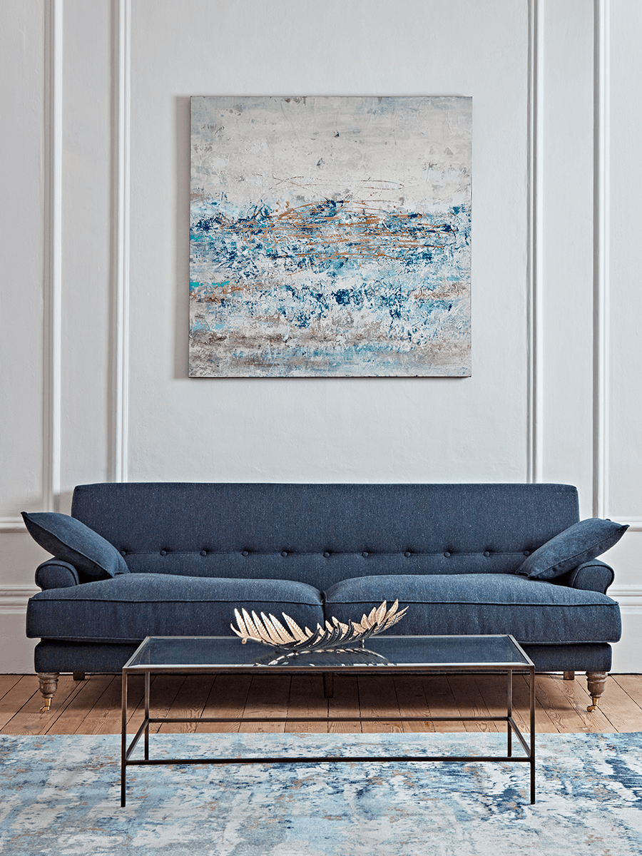 Herringbone Sofa Blue
