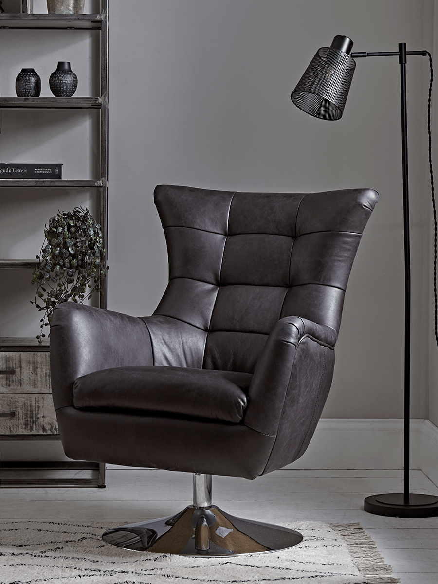 Picture of: Leather Swivel Armchair