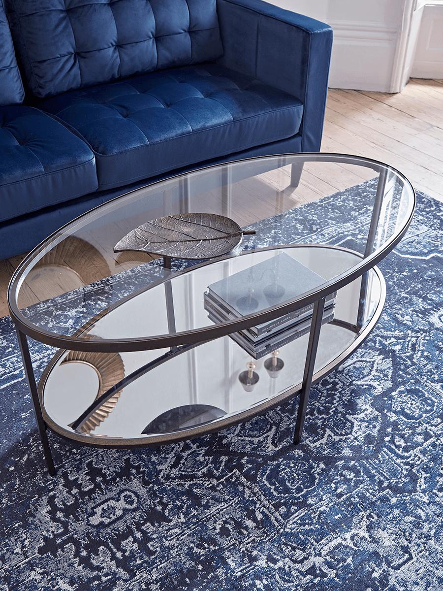 - Glass Display Coffee Table - Aged Bronze