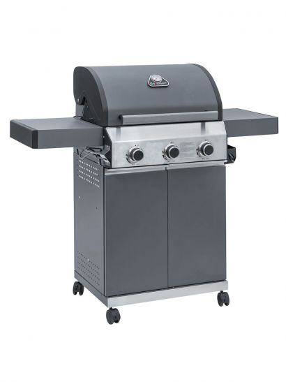 Classic Gas & Charcoal Matte Grey BBQ - 3 Burner