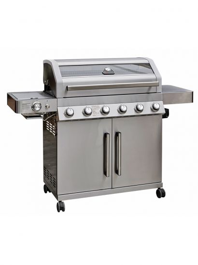 NEW Gourmet Gas & Charcoal Stainless Steel BBQ - 6 Burner