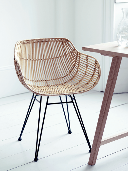 Flat Rattan Armed Chair - Natural