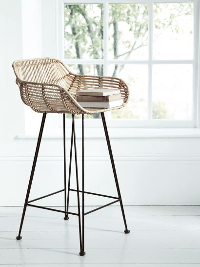 Flat Rattan Counter Stool - Natural