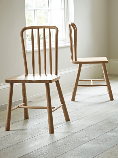 Two Bergen Oak Dining Chairs - Natural