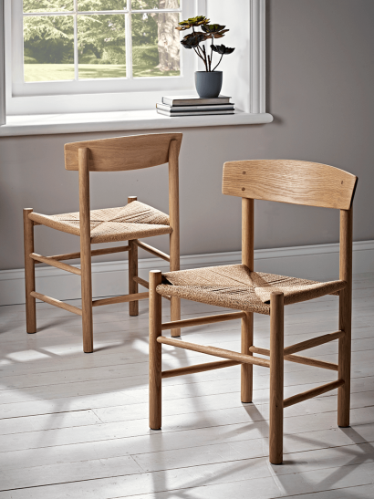 Two Oak & Jute Chairs