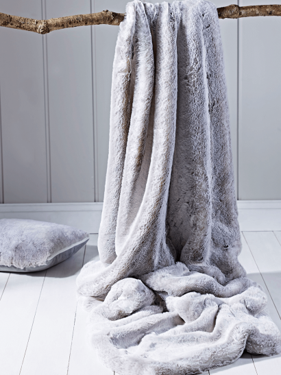 Supersoft Faux Fur Throw - Silver Rabbit