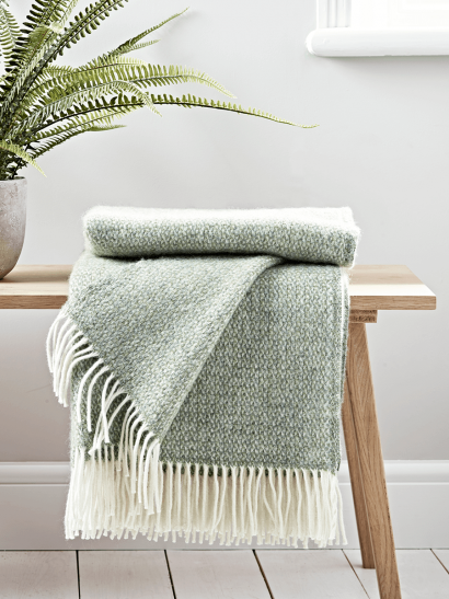 Soft Wool Throw - Sage