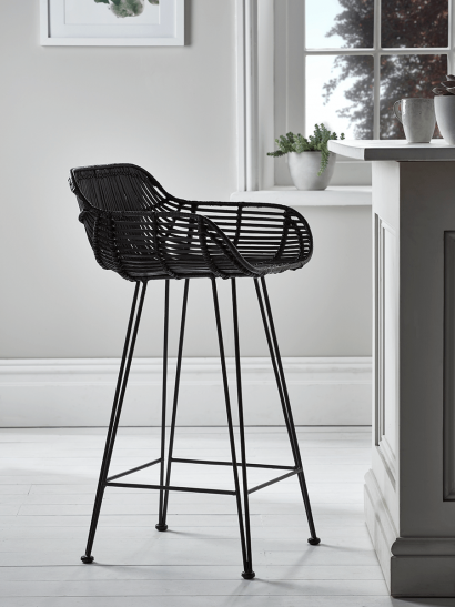 Flat Rattan Counter Stool - Black