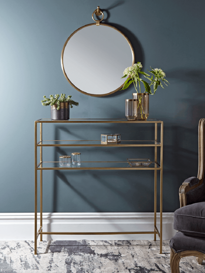 Gold & Glass Console Table