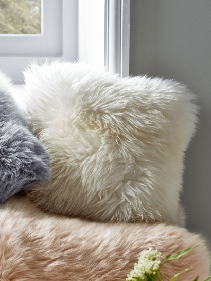 Sumptuous Sheepskin & Suede Cushion - Ivory