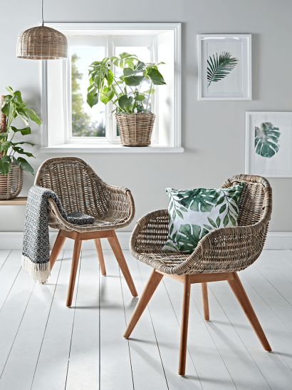 Round Rattan & Teak Dining Chair