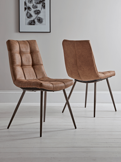 Two Soho Dining Chairs - Tan