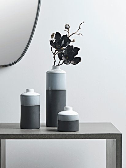 Three Monochrome Dipped Vases