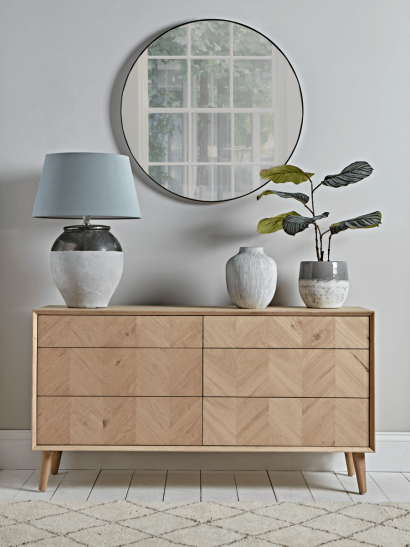Chevron Oak Six Drawer Sideboard