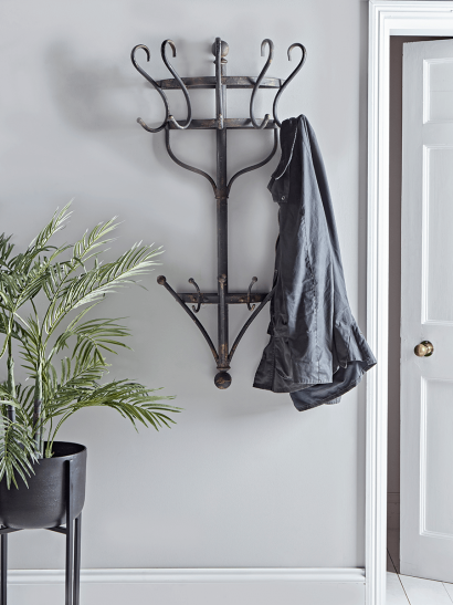 Aged Metal Wall Mounted Coat Rack