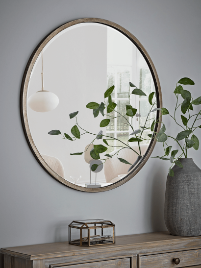 Bevelled Round Mirror – Burnished Silver