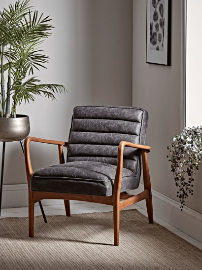 Ribbed Leather Armchair - Black