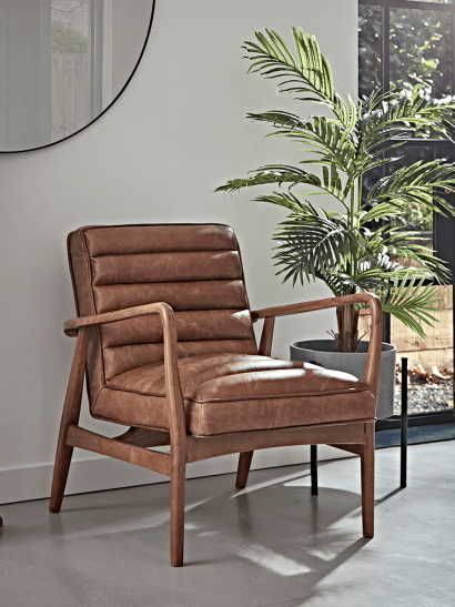 Ribbed Leather Armchair - Tan