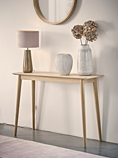Chevron Oak Console Table