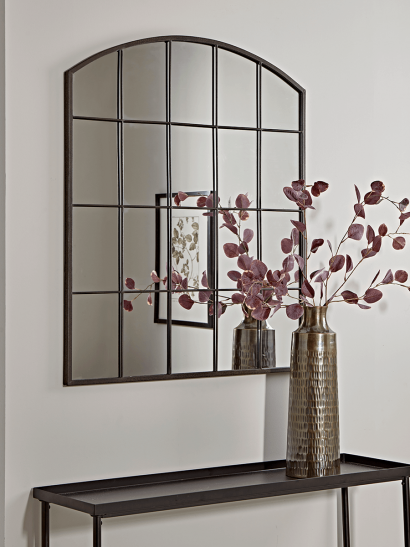 Industrial Curved Top Window Mirror