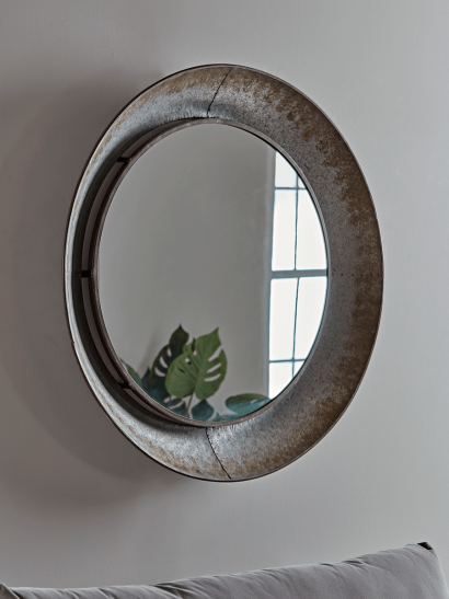 Industrial Style Round Metal Mirror