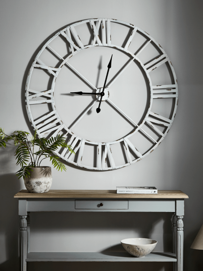 Ironwork Cut Out Clock - White