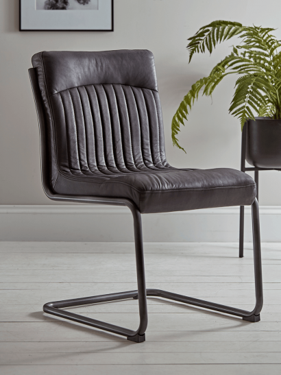 Ford Leather Dining Chair - Carbon