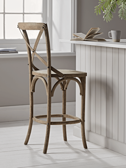 Weathered Oak Cross Back Counter Stool