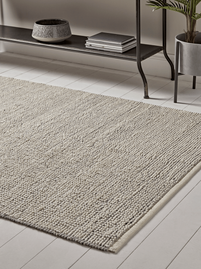 Grey & Cream Looped Rug