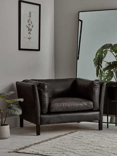 Oversized Grey Leather Club Chair