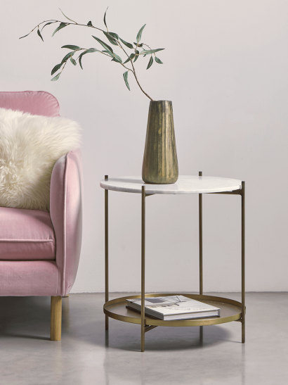 Round Marble & Brass Side Table