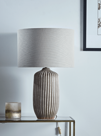 Taupe Textured Stripe Table Lamp