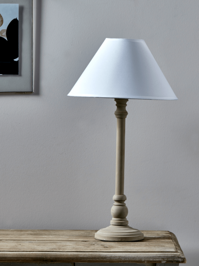 Turned Taupe Bedside Lamp