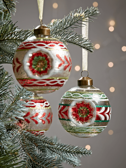 Three Vintage Style Baubles - Red Mix