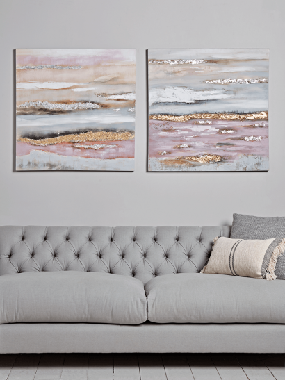 Two Blush & Gold Canvases