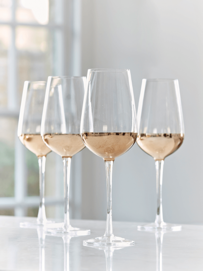 Four Dipped Gold Wine Glasses