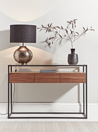 Walnut & Glass Console Table