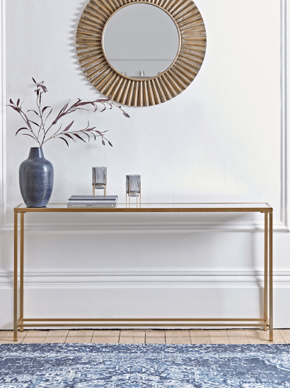 Slim Mirrored Console Table