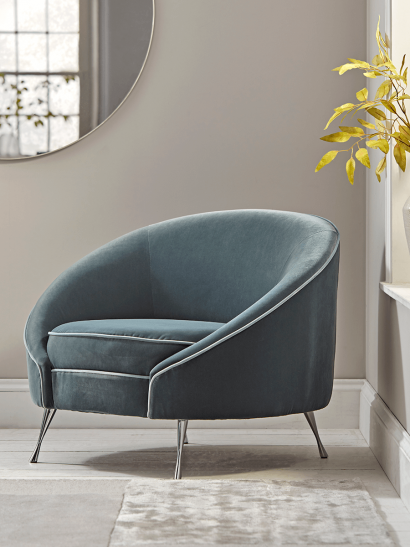 Blue Velvet Tub Chair