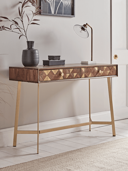 Geometric Inlay Console Table