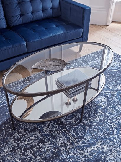 Glass Display Coffee Table - Aged bronze