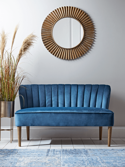 Fluted Velvet Sofa - Blue
