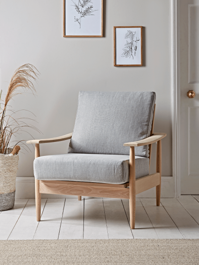 Beech Spindleback Armchair - Soft Grey