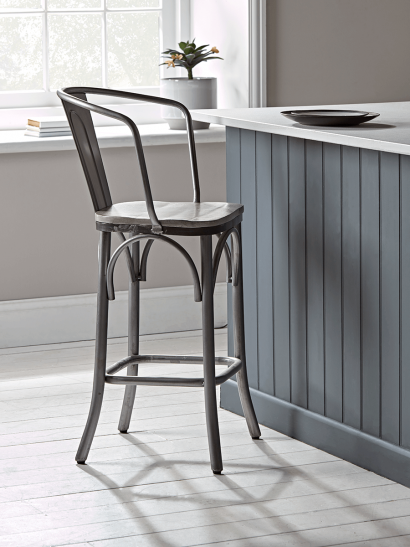 Zinc Curved Back Counter Stool