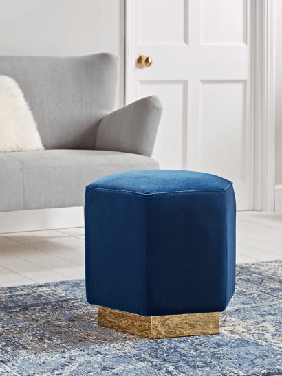 Hexagonal Navy & Brass Pouffe