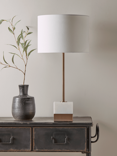 Marble & Rose Gold Block Table Lamp