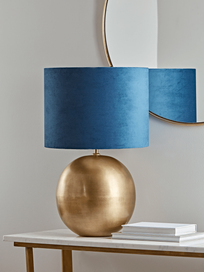 Brass & Navy Ball Table Lamp