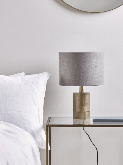 Brass & Grey Small Bedside Lamp